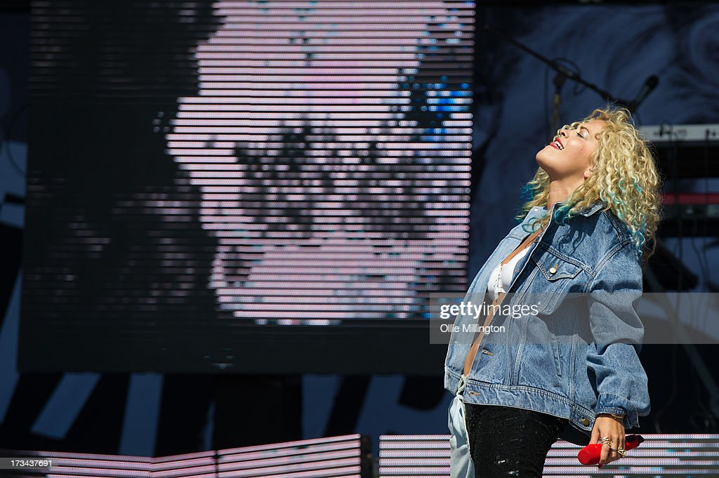 <a gi-track='captionPersonalityLinkClicked' href=/galleries/search?phrase=Rita+Ora&family=editorial&specificpeople=5686485 ng-click='$event.stopPropagation()'>Rita Ora</a> performs at Day 3 of the T in the Park festival at Balado on July 14, 2013 in Kinross, Scotland.