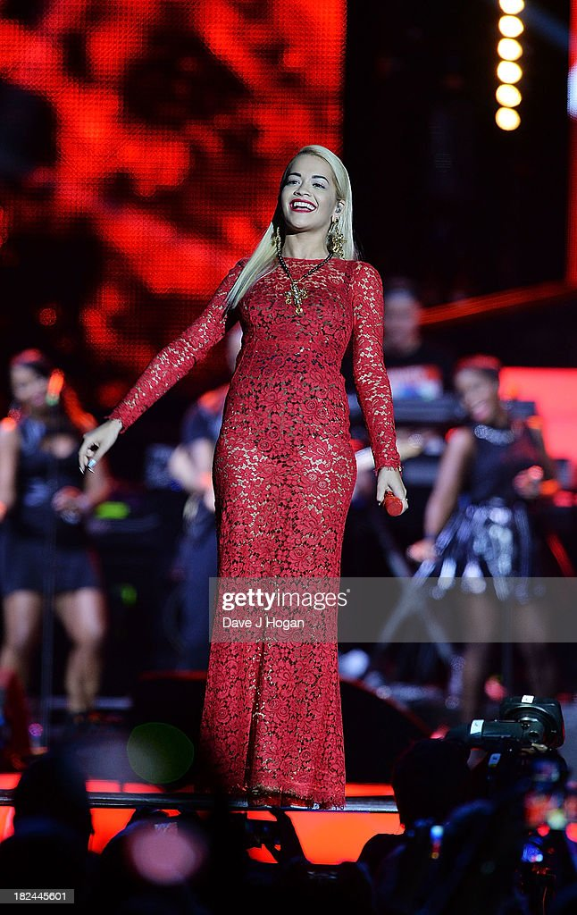 <a gi-track='captionPersonalityLinkClicked' href=/galleries/search?phrase=Rita+Ora&family=editorial&specificpeople=5686485 ng-click='$event.stopPropagation()'>Rita Ora</a> performs at 'Unity: A Concert For Stephen Lawrence' in aid of The Stephen Lawrence Charitable Trust at the O2 Arena on September 29, 2013 in London, England.