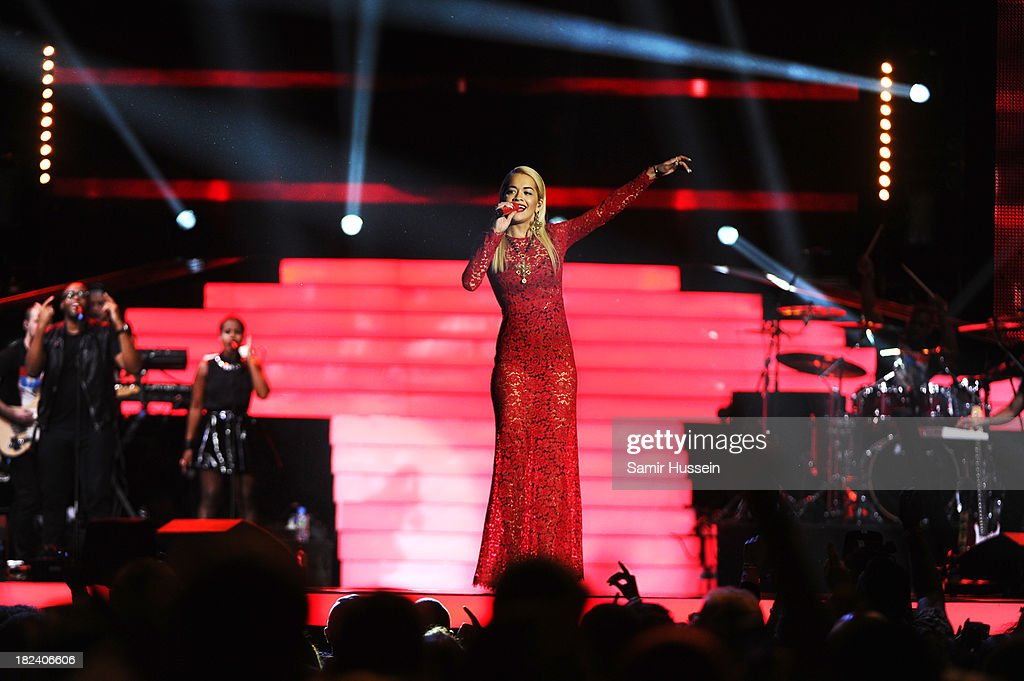 <a gi-track='captionPersonalityLinkClicked' href=/galleries/search?phrase=Rita+Ora&family=editorial&specificpeople=5686485 ng-click='$event.stopPropagation()'>Rita Ora</a> performs live on stage at the Unity concert in memory of Stephen Lawrence at O2 Arena on September 29, 2013 in London, England.