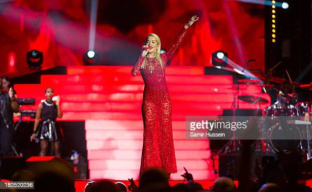 Rita Ora performs live on stage at the Unity concert in memory of Stephen Lawrence at O2 Arena on September 29 2013 in London England