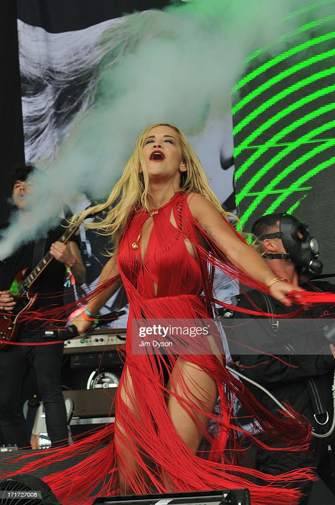 Rita Ora performs live on the Pyramid stage during day 2 of the 2013 Glastonbury Festival at Worthy Farm on June 28, 2013 in Glastonbury, England.