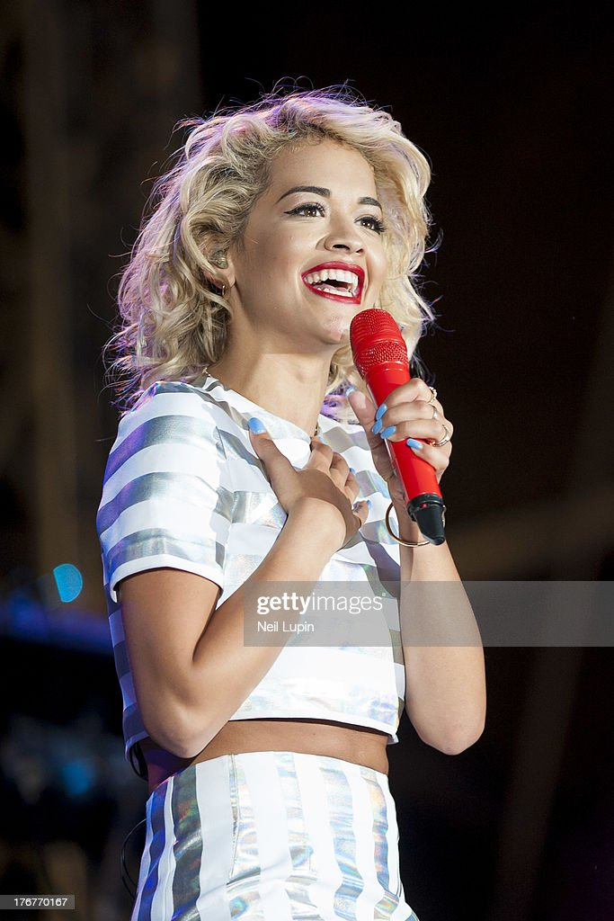 Rita Ora performs on day 2 of the V Festival at Hylands Park on August 18, 2013 in Chelmsford, England.