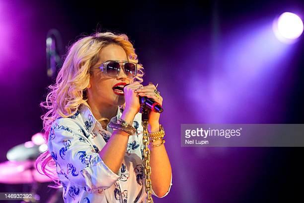 Rita Ora performs on stage during BBC Radio 1 Hackney Weekend at Hackney Marshes on June 23 2012 in Hackney United Kingdom