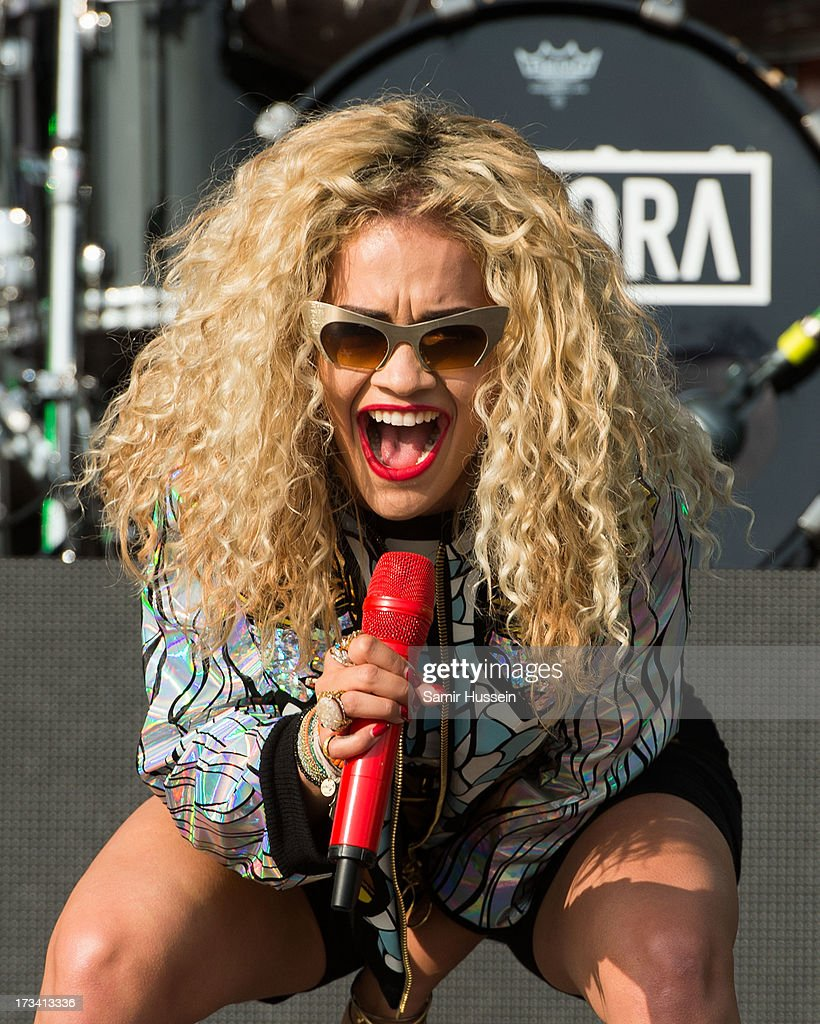 Rita Ora performs on the main stage on day 2 of the Yahoo! Wireless Festival at Queen Elizabeth Olympic Park on July 13, 2013 in London, England.