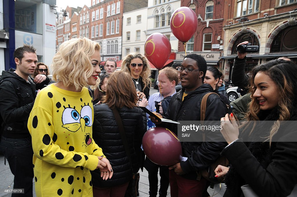 Rita Ora pictured in Leicester Square where she was promoting her new single by releasing balloons with her fans on March 31 2014 in London England