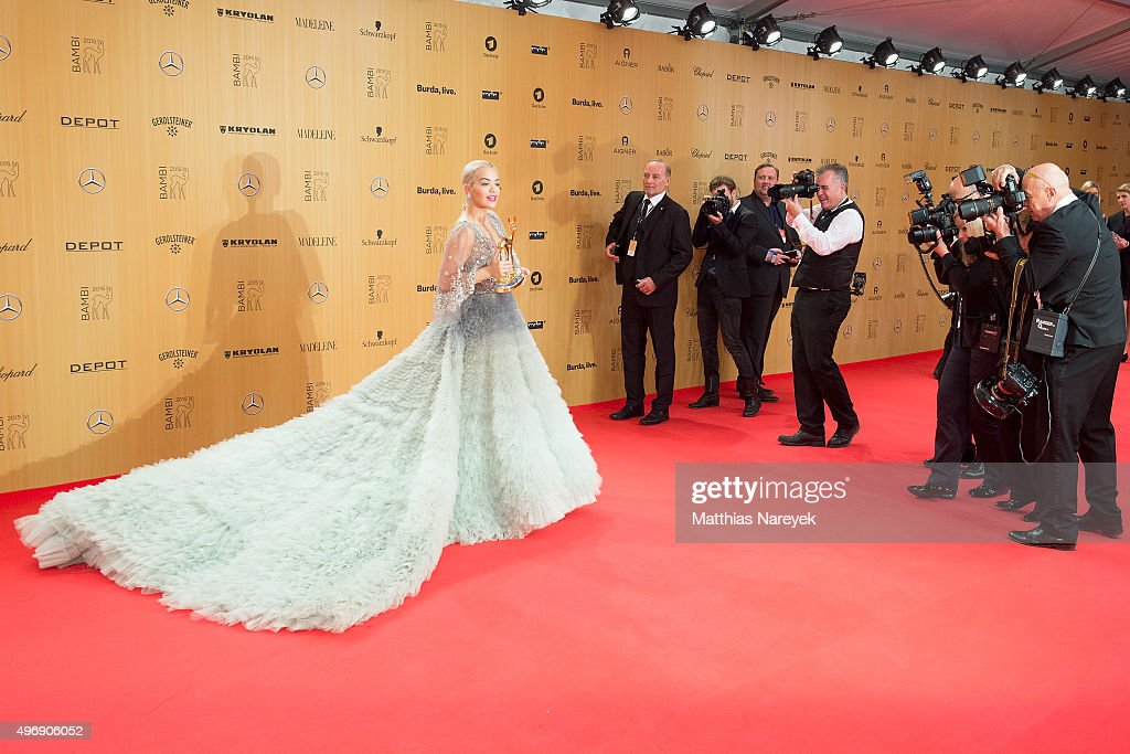 Rita Ora poses at the Bambi Awards 2015 winners board at Stage Theater on November 12, 2015 in Berlin, Germany.