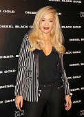 Rita Ora poses backstage at the Diesel Black Gold fashion show during MercedesBenz Fashion Week Spring 2015 at Skylight at Moynihan Station on...