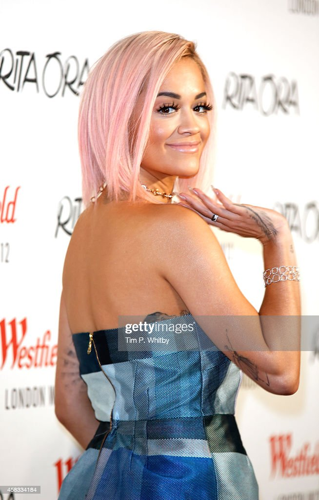 Rita Ora poses for a photo before performing and switching on the Westfield London Christmas Lights at Westfield London on November 3 2014 in London...