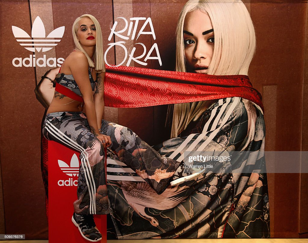 <a gi-track='captionPersonalityLinkClicked' href=/galleries/search?phrase=Rita+Ora&family=editorial&specificpeople=5686485 ng-click='$event.stopPropagation()'>Rita Ora</a> poses for a picture as she launches her adidas Originals <a gi-track='captionPersonalityLinkClicked' href=/galleries/search?phrase=Rita+Ora&family=editorial&specificpeople=5686485 ng-click='$event.stopPropagation()'>Rita Ora</a> SS16 collection at the Originals store at Dubai Mall on February 10, 2016 in Dubai, United Arab Emirates.