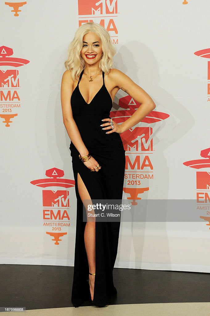 <a gi-track='captionPersonalityLinkClicked' href=/galleries/search?phrase=Rita+Ora&family=editorial&specificpeople=5686485 ng-click='$event.stopPropagation()'>Rita Ora</a> poses in the photo room during the MTV EMA's 2013 at the Ziggo Dome on November 10, 2013 in Amsterdam, Netherlands.