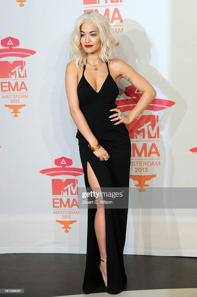 Rita Ora poses in the photo room during the MTV EMA's 2013 at the Ziggo Dome on November 10, 2013 in Amsterdam, Netherlands.