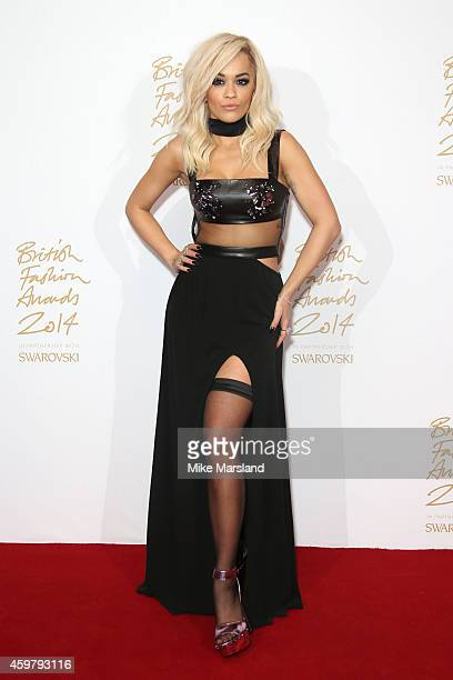Rita Ora poses in the winners room at the British Fashion Awards at London Coliseum on December 1 2014 in London England