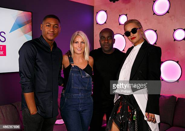 Rita Ora poses with KISS Breakfast presenters Rickie Haywood Williams Charlie Hedges and Melvin O'Doom as she visits Kiss FM Studio's on September 3...