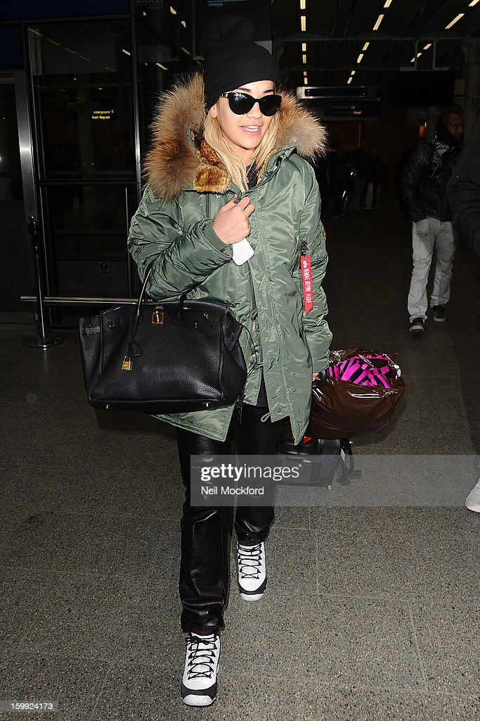 <a gi-track='captionPersonalityLinkClicked' href=/galleries/search?phrase=Rita+Ora&family=editorial&specificpeople=5686485 ng-click='$event.stopPropagation()'>Rita Ora</a> seen arriving back from Paris at King's Cross St Pancras Eurostar Station on January 23, 2013 in London, England.