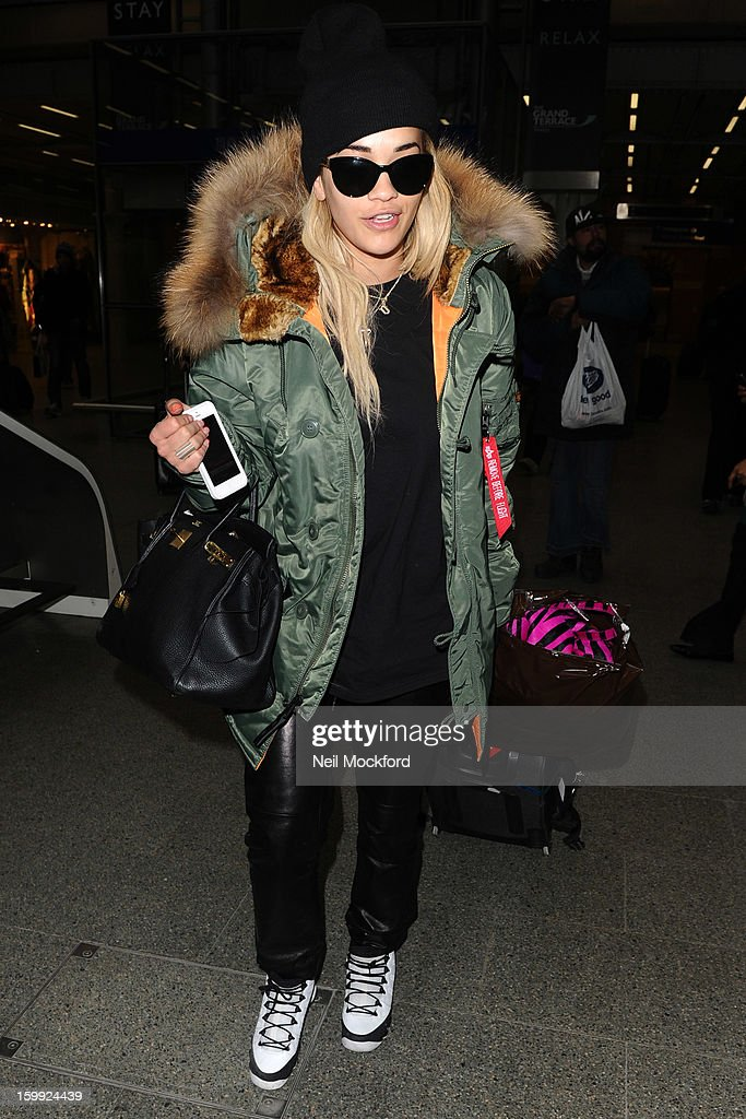 Rita Ora seen arriving back from Paris at King's Cross St Pancras Eurostar Station on January 23, 2013 in London, England.