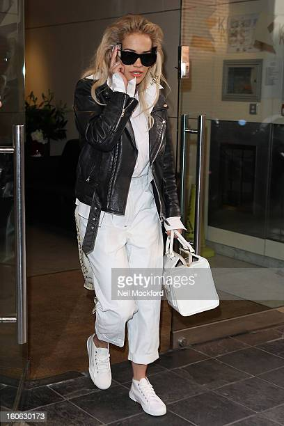 Rita Ora seen leaving KISS FM after promoting her new single 'RadioActive' on February 4 2013 in London England