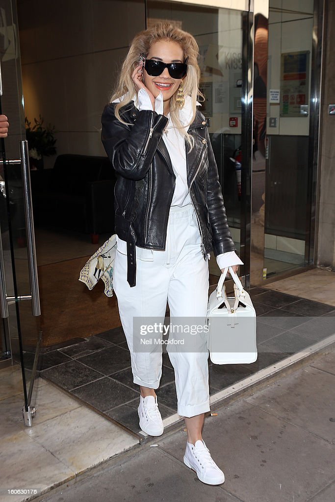 Rita Ora seen leaving KISS FM after promoting her new single 'RadioActive' on February 4, 2013 in London, England.