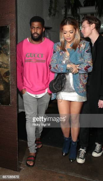 Rita Ora seen leaving Restaurant Ours in Knightsbridge on March 23 2017 in London England