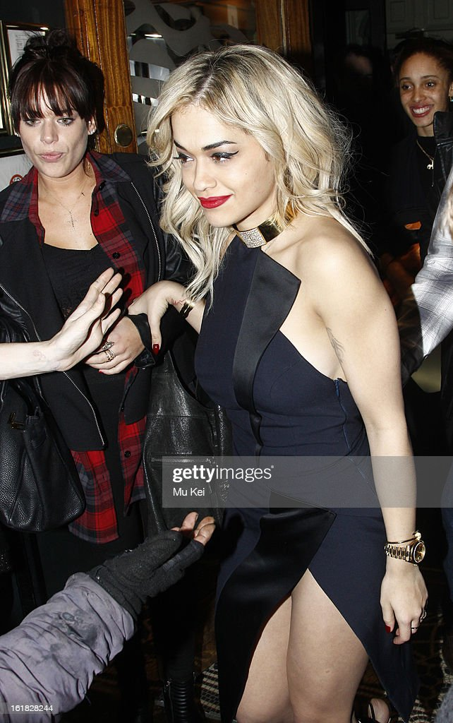 <a gi-track='captionPersonalityLinkClicked' href=/galleries/search?phrase=Rita+Ora&family=editorial&specificpeople=5686485 ng-click='$event.stopPropagation()'>Rita Ora</a> seen leaving the House of Holland after party during London Fashion Week on February 16, 2013 in London, England.