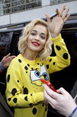 Rita Ora sighted in Leicester Square launching her new single 'Will Never Let You Down' March 31 2014 in London England