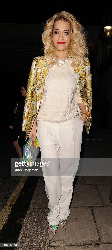 Rita Ora sighting at the British Fashion Awards on November 27, 2012 in London, England.