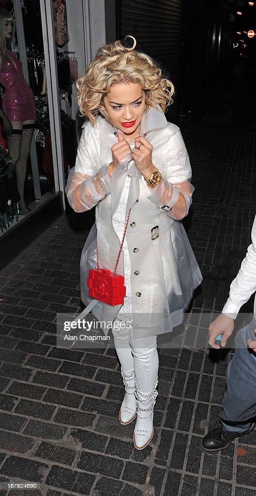 Rita Ora sighting leaving The Box Soho on April 30, 2013 in London, England.