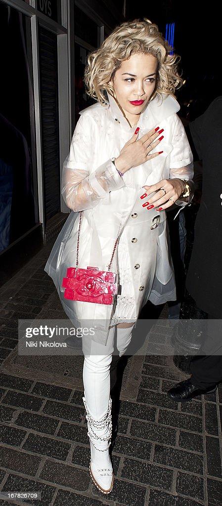 Rita Ora sighting leaving The Box, Soho on April 30, 2013 in London, England.