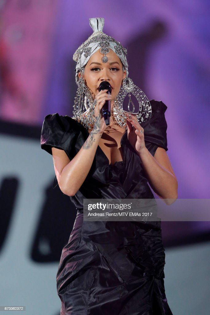 Rita Ora speaks on stage during the MTV EMAs 2017 held at The SSE Arena, Wembley on November 12, 2017 in London, England.