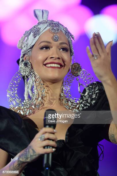 Rita Ora speaks on stage during the MTV EMAs 2017 held at The SSE Arena Wembley on November 12 2017 in London England