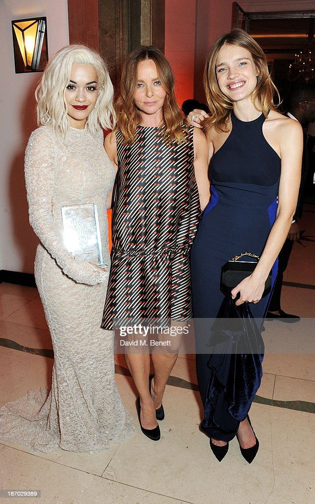 Rita Ora, Stella McCartney and Natalia Vodianova attend the Harper's Bazaar Women of the Year awards at Claridge's Hotel on November 5, 2013 in London, England.