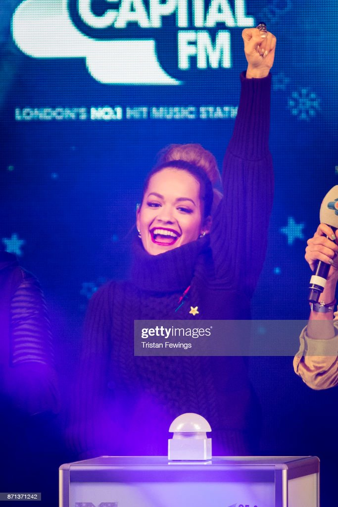 Rita Ora switches on the lights during the Oxford Street Christmas Lights Switch On at Oxford Street on November 7, 2017 in London, England.