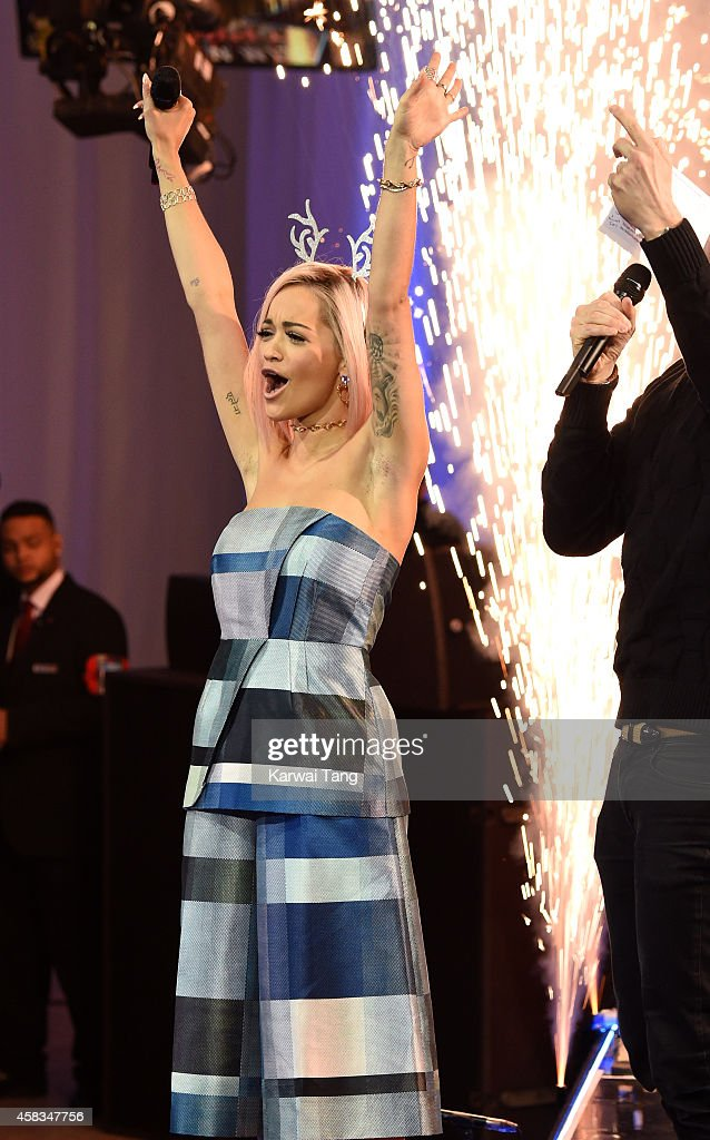 Rita Ora switches on the Westfield London Christmas Lights at Westfield London on November 3, 2014 in London, England.