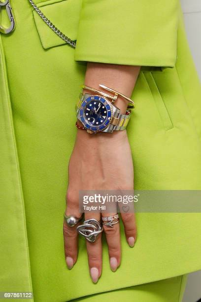 Rita Ora watch detail ring detail tattoo detail visits the Music Choice studios on June 19 2017 in New York City