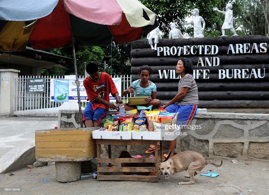 Rita Tulipas (R), 49, a street vendor who earns an average of six dollars a day waits for customers as her pet dog 'Bambi', who was born without front legs, barks at passers by in Manila on January 31, 2013. The Philippines said on January 31 its economy grew by a better-than-expected 6.6 percent last year as confidence rose in President Benigno Aquino's efforts to fight corruption and alleviate poverty. AFP PHOTO/NOEL CELIS