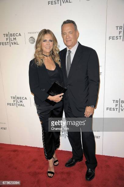 Rita Wilson and Tom Hanks attend 'The Circle' screening during the 2017 Tribeca Film Festival at BMCC Tribeca PAC on April 26 2017 in New York City
