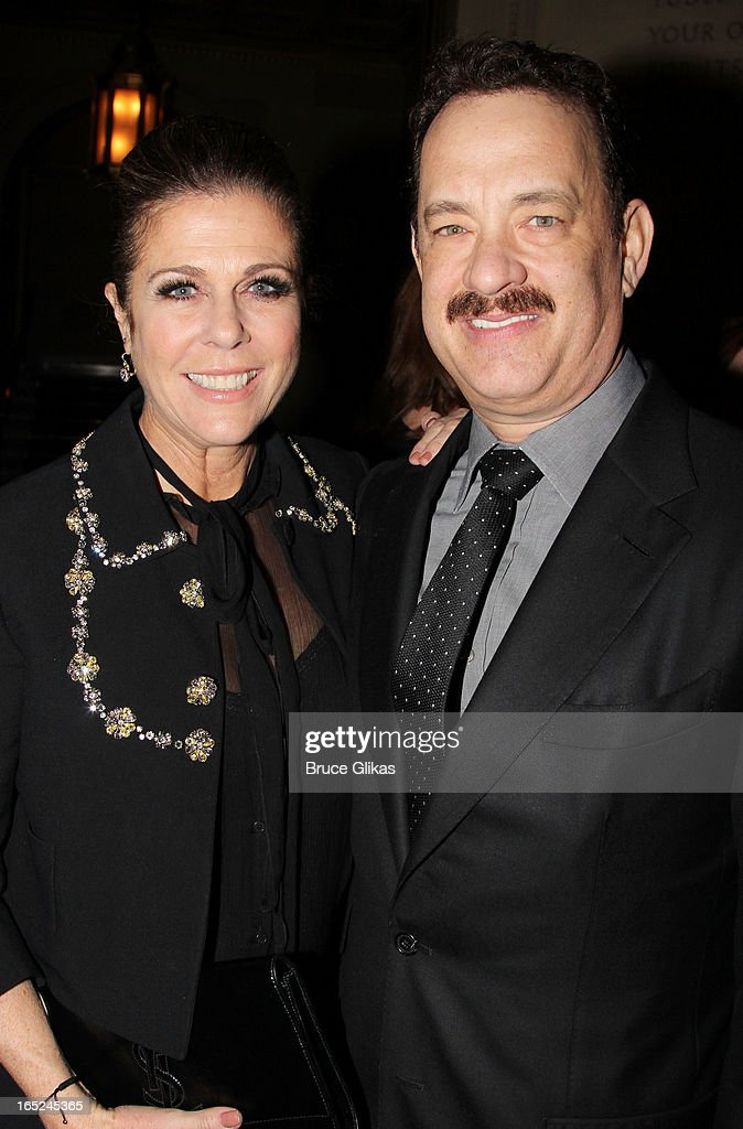 <a gi-track='captionPersonalityLinkClicked' href=/galleries/search?phrase=Rita+Wilson&family=editorial&specificpeople=202642 ng-click='$event.stopPropagation()'>Rita Wilson</a> and <a gi-track='captionPersonalityLinkClicked' href=/galleries/search?phrase=Tom+Hanks&family=editorial&specificpeople=201790 ng-click='$event.stopPropagation()'>Tom Hanks</a> attend the opening night party for Broadway's 'Lucky Guy' at Gotham Hall on April 1, 2013 in New York City.