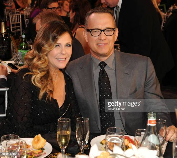 Rita Wilson and Tom Hanks attend the19th Annual Critics' Choice Movie Awards at Barker Hangar on January 16 2014 in Santa Monica California