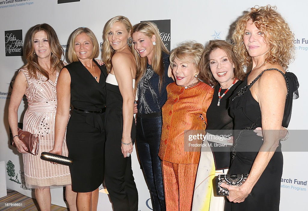 <a gi-track='captionPersonalityLinkClicked' href=/galleries/search?phrase=Rita+Wilson+-+Actress&family=editorial&specificpeople=202642 ng-click='$event.stopPropagation()'>Rita Wilson</a>, Kelly Meyer, <a gi-track='captionPersonalityLinkClicked' href=/galleries/search?phrase=Jamie+Tisch&family=editorial&specificpeople=240723 ng-click='$event.stopPropagation()'>Jamie Tisch</a>, Quinn Ezalow, <a gi-track='captionPersonalityLinkClicked' href=/galleries/search?phrase=Anne+Douglas&family=editorial&specificpeople=243157 ng-click='$event.stopPropagation()'>Anne Douglas</a>, Marion Laurie and <a gi-track='captionPersonalityLinkClicked' href=/galleries/search?phrase=Kate+Capshaw&family=editorial&specificpeople=204585 ng-click='$event.stopPropagation()'>Kate Capshaw</a> attend the EIF Women's Cancer Research Fund's 16th Annual 'An Unforgettable Evening' presented by Saks Fifth Avenue at the Beverly Wilshire Four Seasons Hotel on May 2, 2013 in Beverly Hills, California.