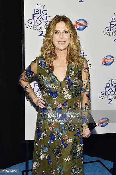 Rita Wilson producer of My Big Fat Greek Wedding 2 arrives at the premiere and walks the Windex blue carpet in New York City on March 15 2016