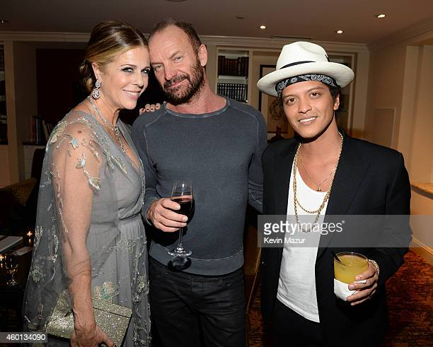 Rita Wilson Sting and Bruno Mars attend the 37th Annual Kennedy Center Honors party at Mandarin Oriental Hotel on December 7 2014 in Washington DC
