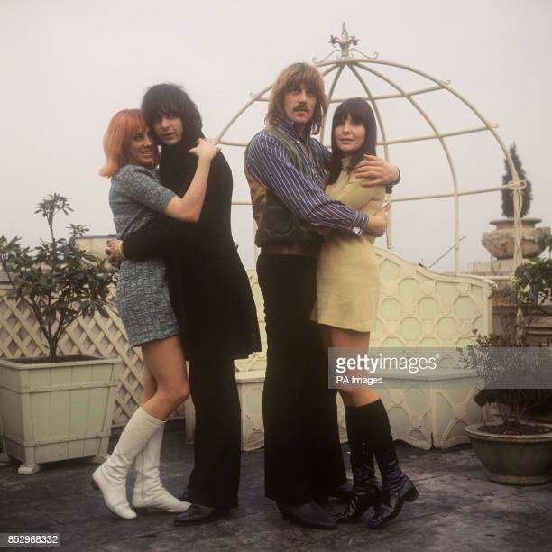 Ritchie Blackmore of English rock band Deep Purple with his fiancee Babs Hardie and the group's organist and composer of 'Concerto for Group and...