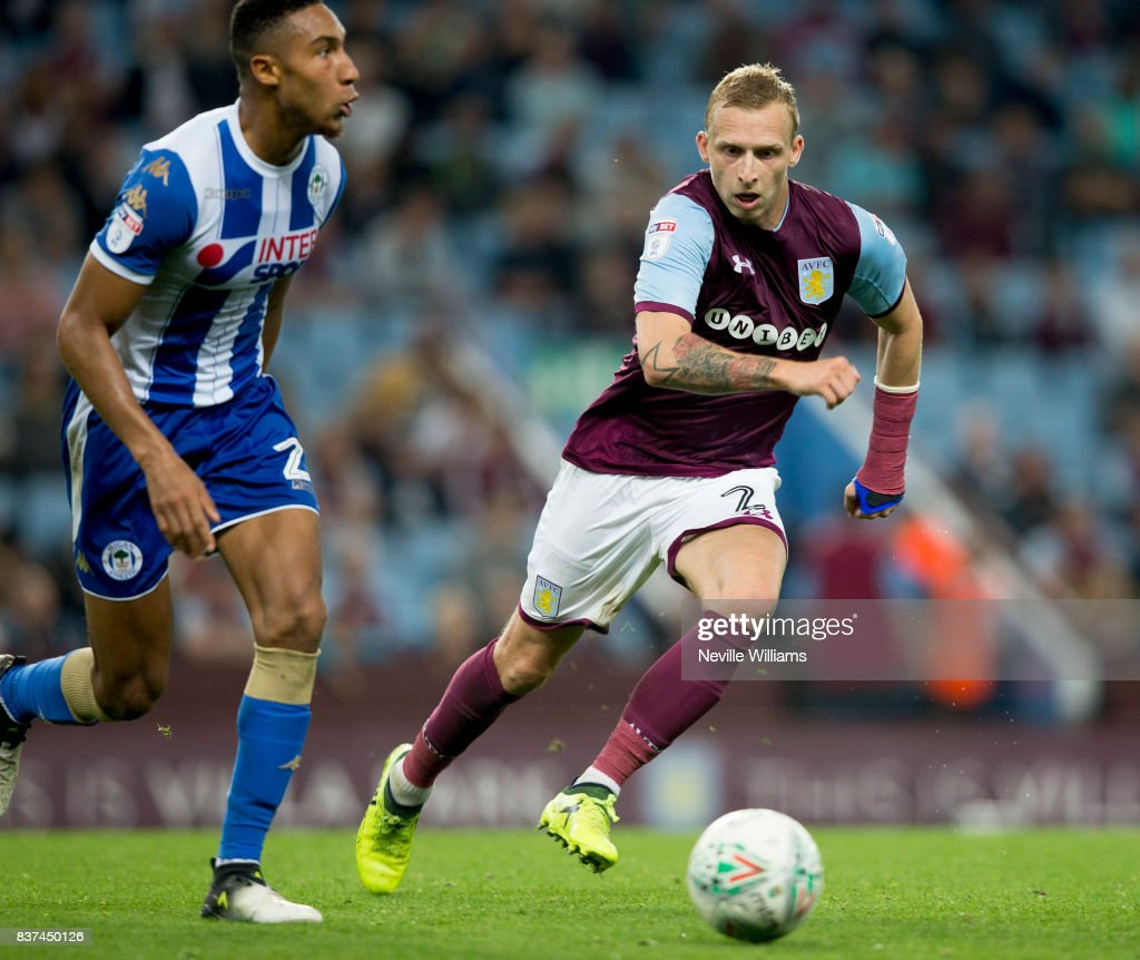 Ritchie De Laet of Aston Villa during the Carabao Cup Second Round match between Aston Villa and Wigan Athletic at the Villa Park on August 22, 2017 in Birmingham, England.