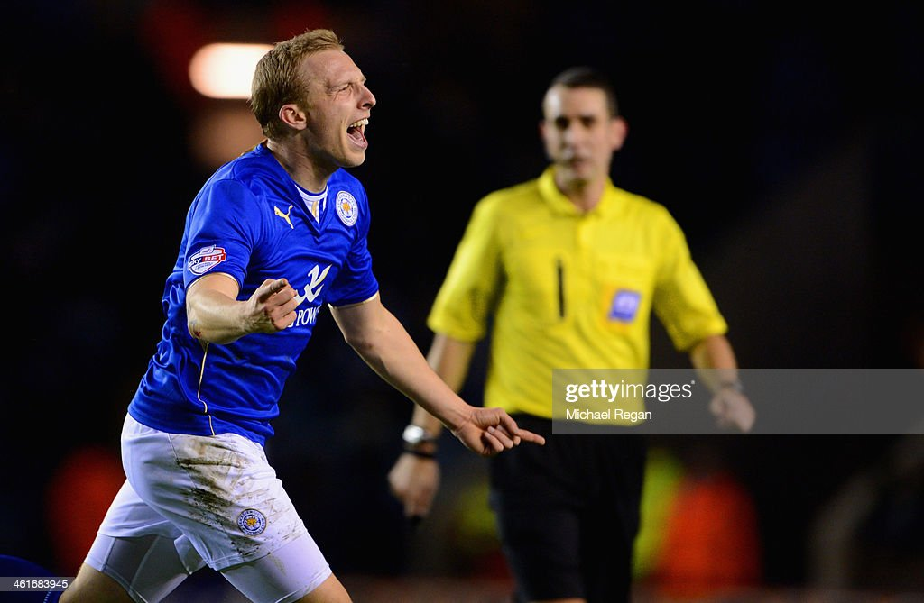 Ritchie De Laet of Leicester celebrates scoring to make it 1-0 during the Sky Bet Championship match between Leicester City and Derby County at The King Power Stadium on January 10, 2014 in Leicester, England.