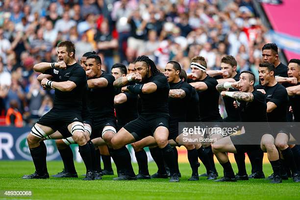 Ritchie McCaw of New Zealand leads the Haka during the 2015 Rugby World Cup Pool C match between New Zealand and Argentina at Wembley Stadium on...