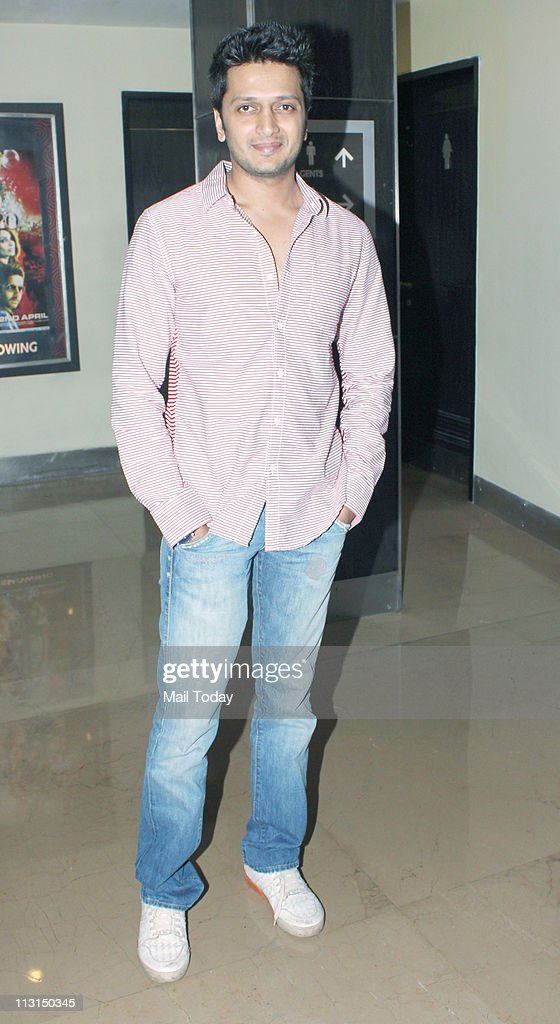 <a gi-track='captionPersonalityLinkClicked' href=/galleries/search?phrase=Ritesh+Deshmukh&family=editorial&specificpeople=4141905 ng-click='$event.stopPropagation()'>Ritesh Deshmukh</a> at the screening of the movie 'Dum Maaro Dum' at PVR, Juhu on April 21, 2011.