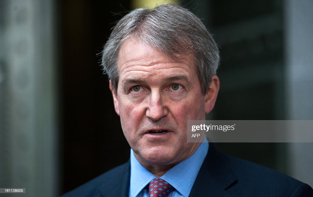 ritish Secretary of State for the Department of the Environment Food and Rural Affairs Owen Paterson addresses the media outside his department in...