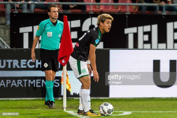 Ritsu Doan of FC Groningen takes a corner during the First round Dutch Cup match between USV Hercules and FC Groningen at the Galgenwaard Stadium on...