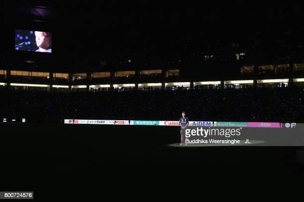Ritsu Doan of Gamba Osaka attends a sending off ceremony as he joins Dutch side Groningen on loan after the JLeague J1 match between Gamba Osaka and...