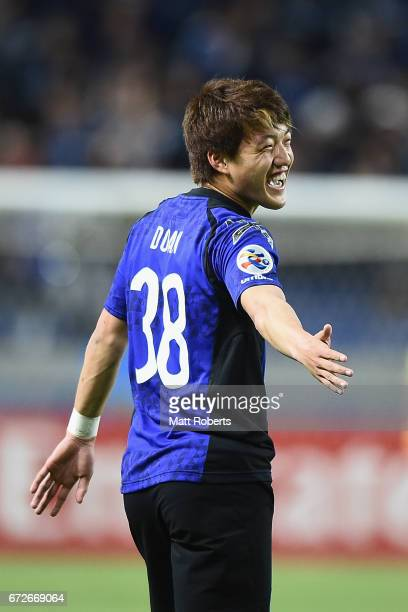 Ritsu Doan of Gamba Osaka celebrates scoring a goal during the AFC Champions League Group H match between Gamba Osaka v Adelaide United at Suita City...