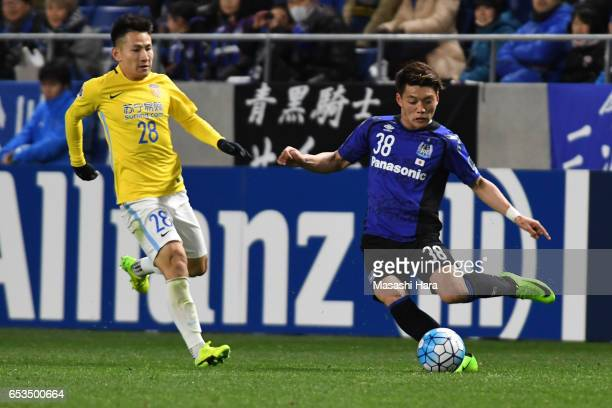 Ritsu Doan of Gamba Osaka in action during the AFC Champions League Group H match between Gamba Osaka and Jiangsu FC at Suita City Football Stadium...
